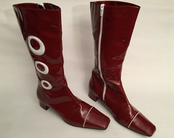 70s patent leather boots - size 38