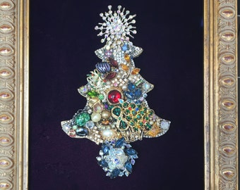 Framed Vintage Jewelry Christmas Tree #22