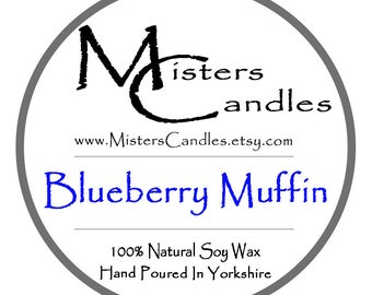 Blueberry Muffin 8oz 100% Natural Soy Wax Scented Candle - 30 hour burn time. Birthday Present, Gift for her