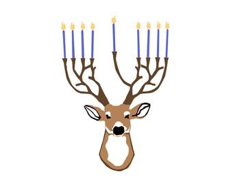 Deer-norah Hanukkah Card Set of 5 Cards