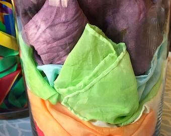 Grab bag of second silks, rainbow, waldorf, magic, Reggio Emilia, freeplay, imagination, dress up