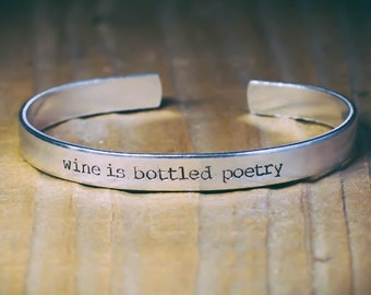 Wine Is Bottled Poetry / Literary Gift / Literary Jewelry / Wine Lover's Gift / Poetry Gift / Robert Louis Stevenson / Quote Jewelry