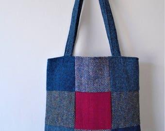 Harris Tweed patchwork tote bag