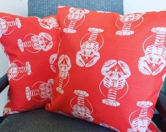 Orange Lobster Print Throw Pillow Cushion 18x18inch 50x50cm