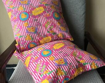 Retro Pink Flower Garden Throw Pillow 18x18inch 45x45cm Cushion Cover