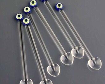 Handmade Evil Eye Glass Teaspoons - Set of 6