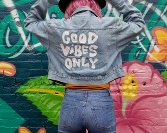Good Vibes Only - Painted Denim Jacket