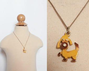 vintage 1970s dog charm girls necklace