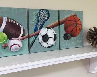 Sports Balls, Net, Puck and Bat