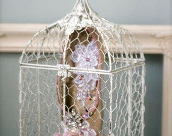 Shabby Chic Decor Caged Pointe Shoe with Roses