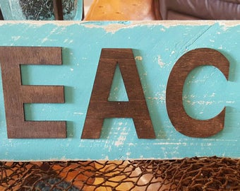 "17"" Rustic Wood BEACH sign Ready to hang"
