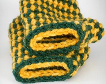 Crochet Fingerless Gloves/Green & Yellow