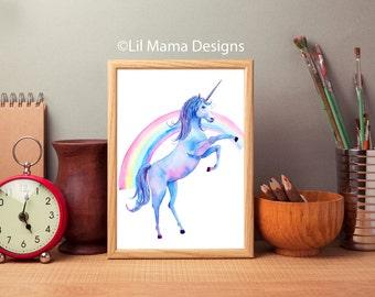 Unicorn Wall Art, Print, Home Decor, nursery decor, instant download print