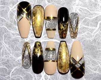 Black and Gold Fake Nails | Coffin Nails | Press On Nails | Available in Any Shape and Size