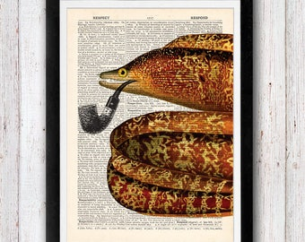 Eel on Pipe Vintage Upcycled page /  Dictionary Pages Vintage Book Print
