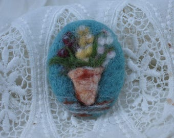 Flower Pot Needle Felt Brooch