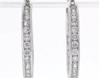 Sterling Silver Inside Out Cubic Zirconia Hoop Earrings - 7.9 Grams