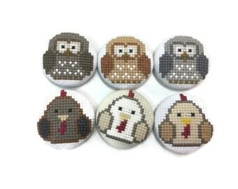 Hross-stitihh magnet Owl & Chicken (cross stitch magnet OWL and hen)
