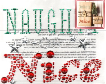 Christmas Naughty or Nice Gem Bling Scrapbook Craft Stickers Recollections Color Splash Greeting Cards