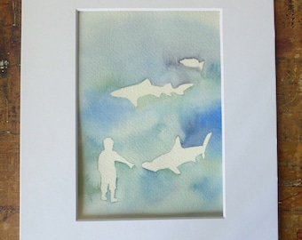 Shark Watercolor Painting, shark Art, Hammerhead shark, with mat, aquarium, Boys Room, Shark Lover, boy with shark, Animal Rescue, Ocean