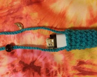 Crochet lighter holder necklace