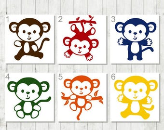 Monkey Decal - Animal Decal - Monkey Car Decal - Zoo Keeper Gift - Animal Lover Gift - Monkey Laptop Decal - Monkey Tumbler Decal - Monkey