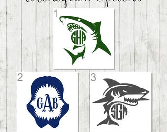Shark Monogram Decal - Personalized Shark Decal - Great White Shark Decal - Sea Life Decal - Shark Party Favors - Shark Boat Decal - Sharks
