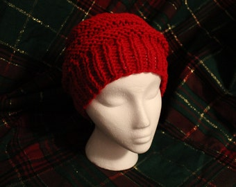 Red Slouchy Hat Hand Knit