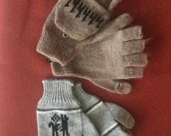 100% Alpaca Gloves with Mitten Flaps