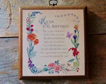 "Vintage ""Recipe for Happiness"" Wooden Wall Plaque Vintage Wall Decor"