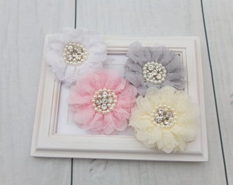Lace Inspired Floral Hair Clip with Faux Pearl and Rhinestone Center