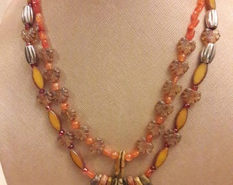Autumn Dreams - Carnelian, Jasper, and glass necklace