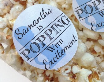 Popping with excitement, baby shower favour stickers, about to pop stickers, personalised baby shower stickers, 030 - Blue
