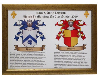 Framed Double Coat Of Arms Family Crests. Wedding Or Anniversary Gift