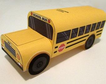 School Bus Favor Box: DIY printable PDF with editable text