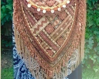 Tribal medicine gypsy Ethnic Bag Shamanic Wiccan gold coins Winter shoulder shaman boho hippie bohemian beaded crochet trim