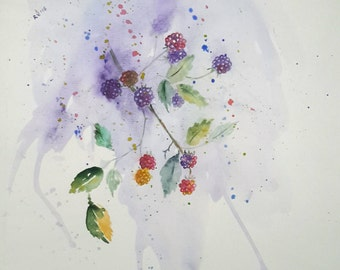 Original watercolour painting of Blackberries, watercolour blackberries painting, nature watercolor