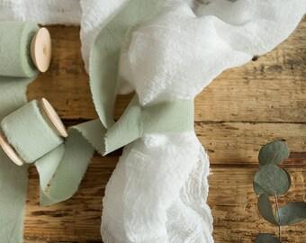"Greenery ribbon 1"" Hand dyed Cotton bridal bouquet green ribbon, Wedding Rustic ribbon, gift wraps, cottage chic wedding, boho style green"