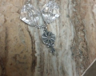 Cute silver sweet treat lollipop necklace