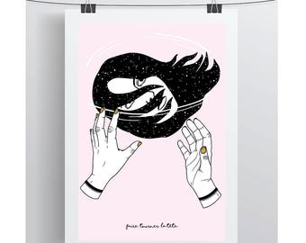 """Screen printed make turn his head - """"French phrases"""" series. A3. Poster / Illustration"""
