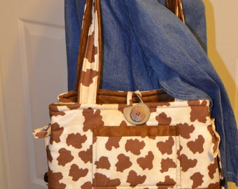 Cowhide Designed Handbag with button accents, Day Bag