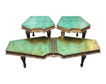Vintage Hollywood Regency Verre Eglomise Green Gold Glass Top Wood 3Pc Table Set