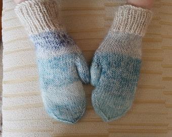 Hand Knitted  Ladies Super soft  Mittens
