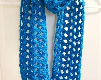 Blue Crochet Scarf Handmade Scarf Handmade Scarf Crochet Scarf with Tassels