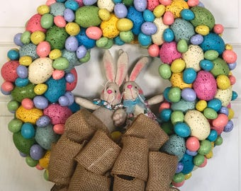 Easter Wreath, Easter Wreath with Bunnies, Easter Decor