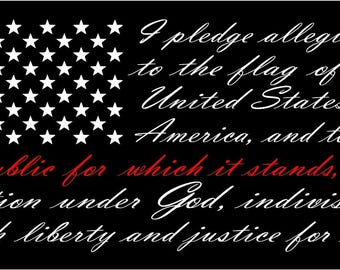 American flag pledge of allegiance vinyl truck window sticker decal  red line