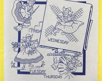 Aunt Martha's Hot Iron Transfers-3597-Dutch Girl Tea Towel-Vintage Embroidery Pattern