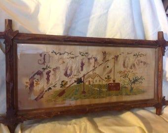 vintage sampler in tramp frame vintage frame tramp art