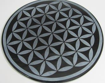 Engraved black obsidian mirror - Flower of life Mandala