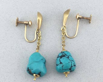 Amazing Vintage Solid 18k Yellow Gold and Turquoise Drop Down Earrings!